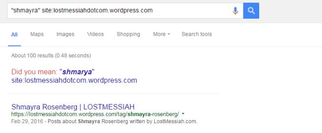 LostMessiah Julie Globus Spells Shmarya Rosenberg's Name Shmayra